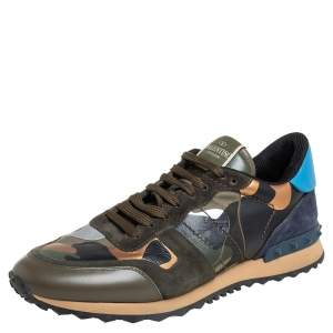 Valentino Multicolor Camouflage Print Canvas And Leather Rockstud Low Top Sneakers Size 41