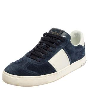 Valentino Blue/White Suede And Leather Flycrew Lace Up Sneakers Size 42