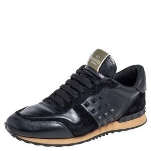 حذاء رياضي فالنتينو روكستد ترانير سويدي وجلد أسود مقاس 41