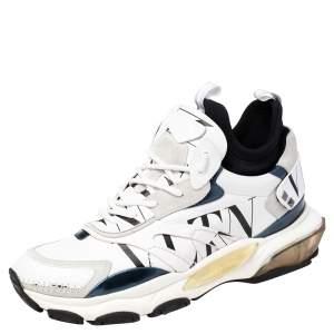 حذاء رياضي فالنتينو غريد بونس جلد وسويدي أسود/أبيض كاموفلاغ مقاس 44