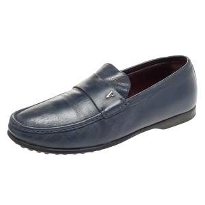 Valentino Blue Leather Slip On Loafers Size 43