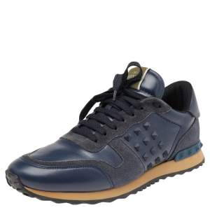 Valentino Navy Blue Suede And Leather Rockrunner Low Top Sneakers Size 43