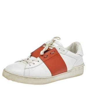 Valentino White Leather Rockstud Low Top Sneakers Size 41.5