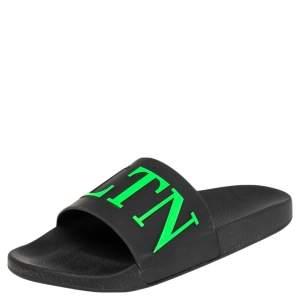 Valentino Black Rubber VLTN Pool Slide Flat Size 43