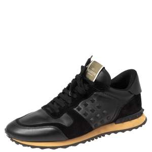 Valentino Black Leather And Suede Rockstud Sneakers Size 45