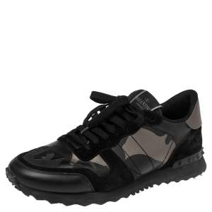Valentino Black Suede And Camo Leather Rockstud Sneakers Size 43