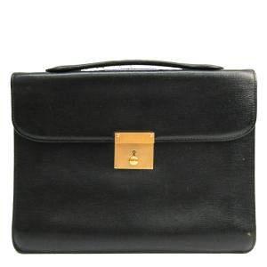 Valextra Black Leather Briefcase