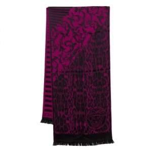 Versace Purple Striped Medusa Patterned Wool Scarf