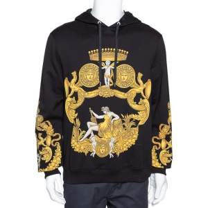 Versace Black & Yellow Baroque Print Cotton Hoodie XL