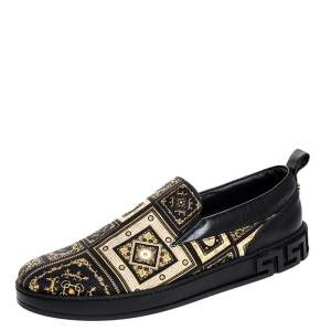 Versace Black/Gold Printed Satin And Leather Slip On Sneakers Size 45