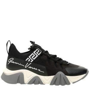 Versace Black/White/Grey Squalo Knit Sneakers Size EU 39