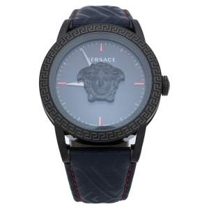 Versace Blue Black Ion Plated Stainless Steel Palazzo Empire VERD00118 Men's Wristwatch 43 mm