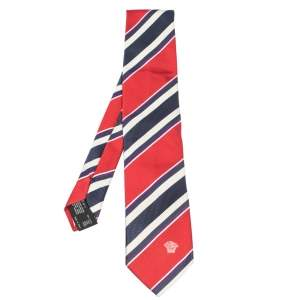 Versace Red & Blue Diagonal Striped Silk Jacquard Tie
