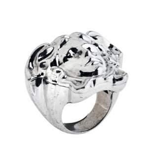 Versace Silver Tone Medusa Ring Size EU 54