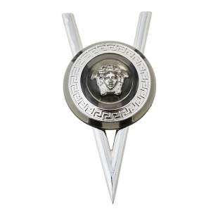 Versace Silver Tone V Resin Medusa Pin Brooch
