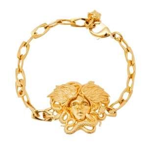 Versace Gold Tone Medusa Serpentine Wings Icon Bracelet