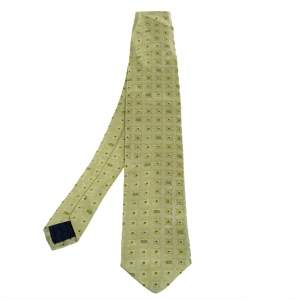 Versace Green Patterned Jacquard Silk Classic Tie