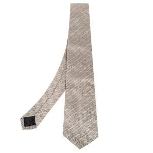 Versace Beige Greek Key Stripe Pattern Silk Tie