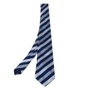 Versace Blue Greca Striped Silk Tie