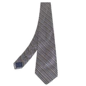 Versace Navy Blue Logo Pattern Jacquard Silk Tie