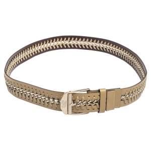 Versace Beige Leather Metal Braided Buckle Belt 110CM