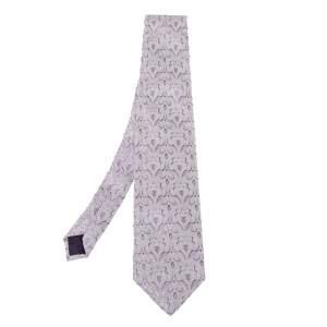 Versace White & Purple Jacquard Silk Tie