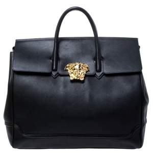 Versace Black Leather Palazzo Empire Tote