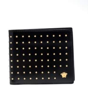 Versace Black Studded Patent Leather Medusa Bifold Wallet