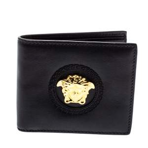 Versace Black Leather Medusa Bifold Wallet