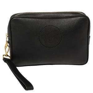 Versace Black Leather Perforated Medusa Wristlet Clutch