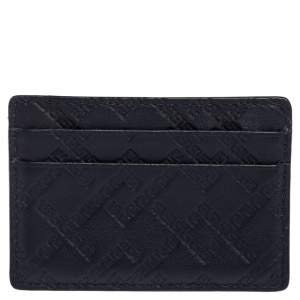 Versace Navy Blue Embossed Signature Leather Card Holder