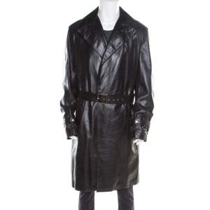 Versace Signature Black Leather Belted Overcoat XXL