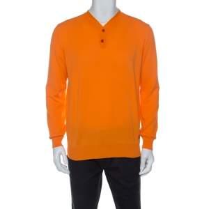 Versace Orange Cotton Knit V neck Buttoned Collar Sweater XXL