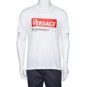 Versace White Cotton Logo Graphic Print Crew Neck Fitted T Shirt L