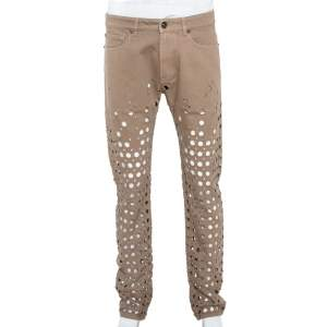 Versace Beige Denim Perforated Straight Leg Jeans L