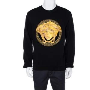 Versace Black Cotton Medusa Embroidered Sweatshirt L