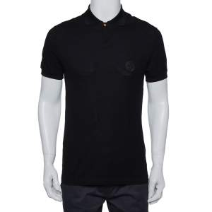 Versace Black Cotton Pique Contrast Collar Detail Polo T-Shirt S