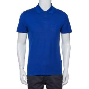 Versace Royal Blue Cotton Pique Button Front T-Shirt XS