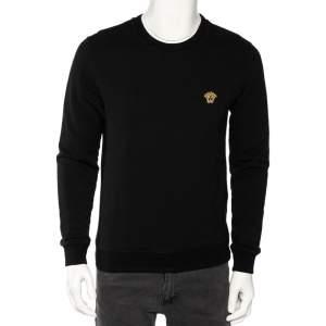 Versace Black Cotton Medusa Embroidered Logo Sweatshirt S