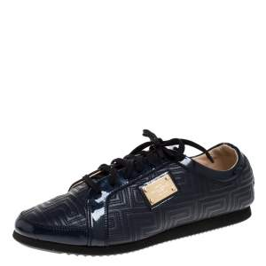 Versace Blue Greca Leather And Patent Trim Lace Up Low Top Sneakers Size 39