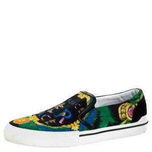 حذاء رياضي فيرساتشي سليب أون حافة جلد وكانفاس طباعة Beverly Palm متعدد الألوان مقاس 43