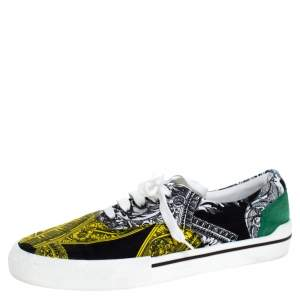 Versace Multicolor Printed Fabric And Suede Trim Low Top Lace Up Sneakers Size 43