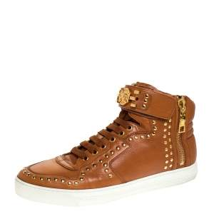 Versace Brown Leather Studded Medusa High Top Sneakers Size 43