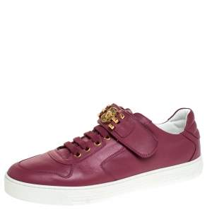 Versace Dark Pink Leather Medusa Strap Lace Up Low Top Sneakers Size 43
