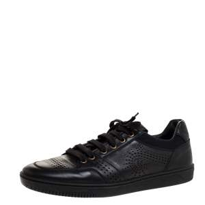Versace Black Perforated Leather Low Top Sneakers Size 42