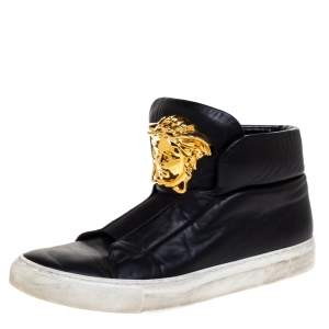 Versace Black Leather Palazzo Medusa High Top Sneakers Size 40