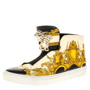 Versace Cream Tigris Print Leather Palazzo Medusa High Top Sneakers Size 38