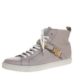 Versace Lilac Leather Medusa Embellished High Top Lace Up Sneakers Size 40