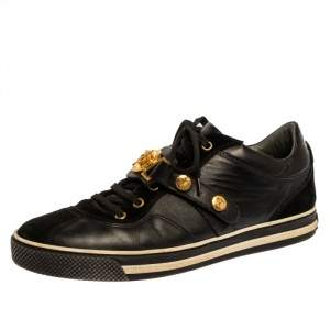 Versace Black Suede And Leather Medusa Low Top Lace Up Sneakers Size 41