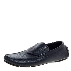 Versace Navy Blue Leather Slip On Loafers Size 40